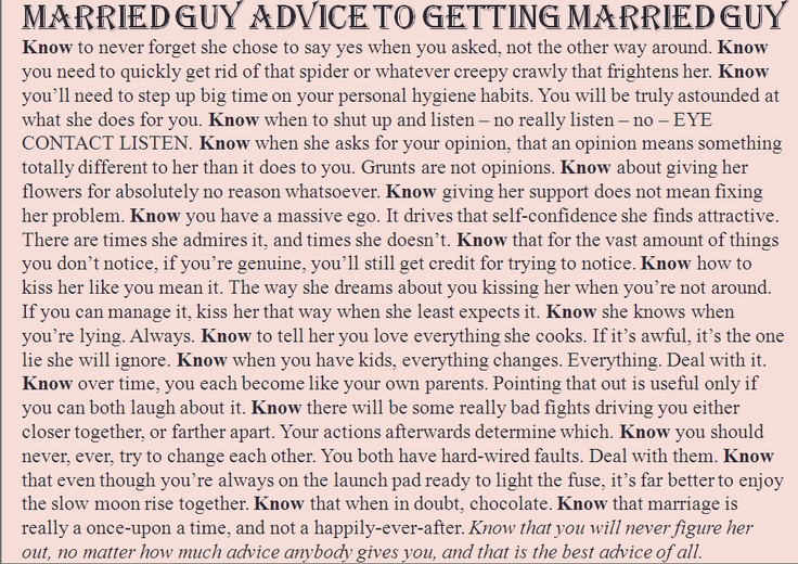 Married Guy Advice to the Getting Married Guy. I proposed to my wife 25 years ago today. Here's a little of what I learned along the way.