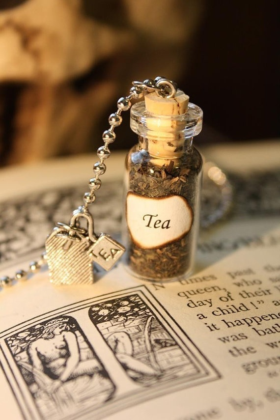 Glass Vial Necklace - Green Tea by spacepearls for my sister