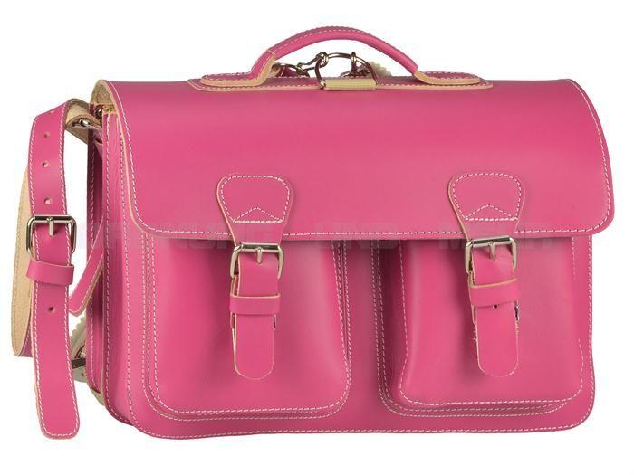 Ruitertassen Leder Schulranzen - Schultasche im Old Style + Rückengarnitur - rosa, türkis, limette