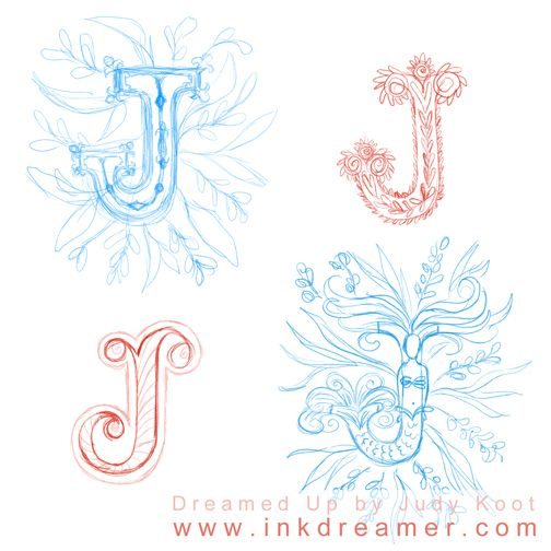 """I'm super psyched: I joined the online illustration course """"Make Art That Sells: Assignment Bootcamp 2017"""" by Lilla Rogers.  Looking forward to learning, growing, and being surprised!  Here are some of my illuminated letter sketches for one of the assignments.  ★ Click image for online character illustration classes ★"""