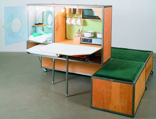 Andrea Zittel began making art in response to her own surroundings and daily routines, creating functional objects that fulfilled the artist's needs relating to shelter, food, furniture, and clothing.