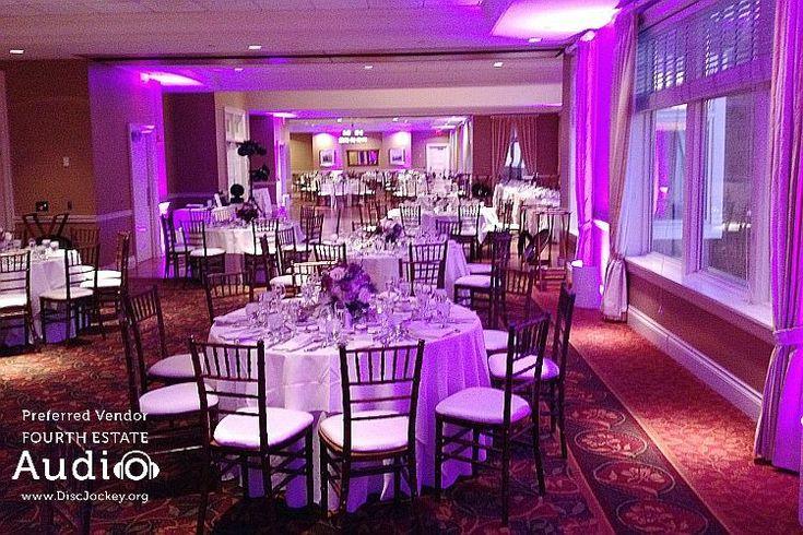 The elegant Grand Ballroom at Arrowhead Golf Club is resplendent in elegant #ChicagoWeddingLighting by Fourth Estate Audio. http://www.discjockey.org/lighting-uplighting-options/