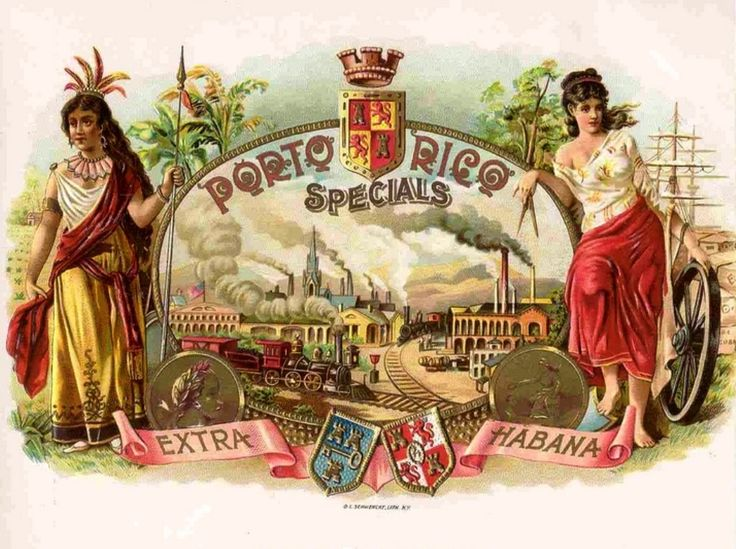 "Lithograph by O.L.Schwencke. - An extra Habana is Porto Rico Special Cigar. - Two working women....Society must care for working women in particular ensuring that they remain in their jobs. - Board ""Art- Seductive Women of Cigars Labels. -"