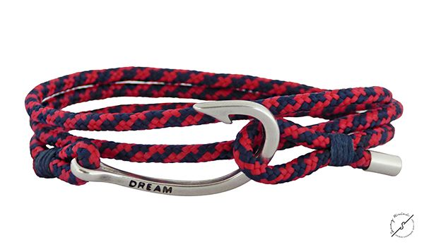 Ανδρικό βραχιόλι Hook/nautical rope VRA00290 Ανδρικό χειροποίητο βραχιόλι με αγκίστρι επαργυρωμένο και ναυτικό σχοινί σε χρώμα μπλέ-κόκκινο,λεπτομέρεια κορδόνι μπλέ στο δέσιμο .Ρυθμιζόμενο.