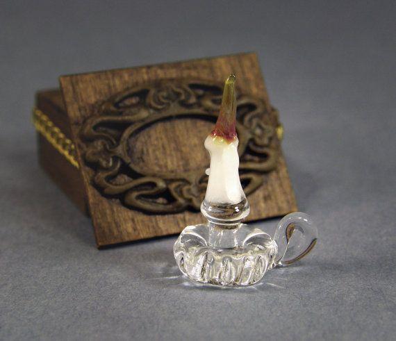 Glass candlestick, dollhouse miniature 1:12 scale. Artisan.