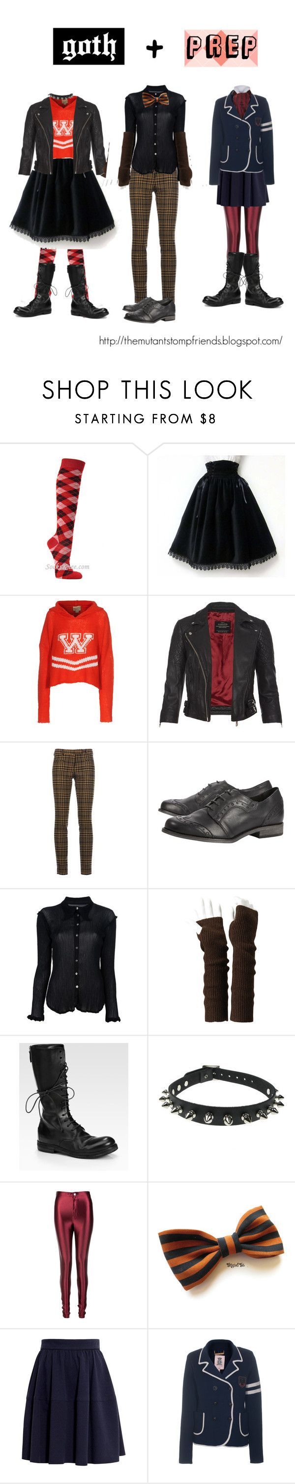 """""""goth + prep"""" by ahp259 ❤ liked on Polyvore featuring Wildfox, AllSaints, True Royal, Dune, Issey Miyake Cauliflower, Uniqlo, Marsèll, Glamorous, Carven and Juicy Couture"""