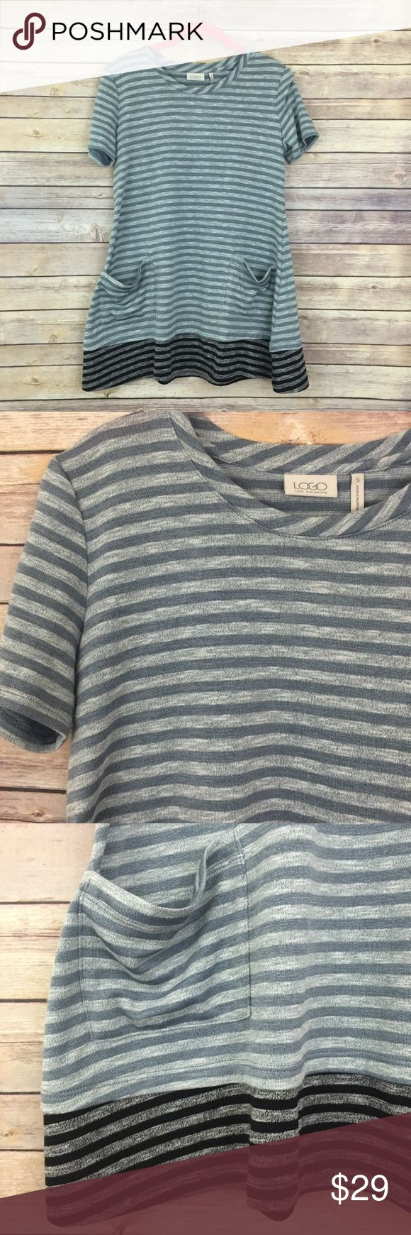 """LOGO by Lori Goldstein striped knit top w/contrast This LOGO by Lori Goldstein short sleeve knit top is still available on the QVC website for full price! It's super cute a-line style makes it flowy and cute to layer over leggings or skinny jeans!  Fit: semi-fitted Length: 28-1/2""""  Content: 71% polyester/24% cotton/5% spandex LOGO by Lori Goldstein Tops Tunics"""