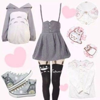 dress anime totoro cute lovely lolita kawaii cardigan blouse shoes leggings tights jacket: