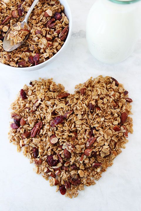 Brown Butter Maple Granola Recipe on twopeasandtheirpod.com. The BEST granola recipe! Great for breakfast or snacking! #granola