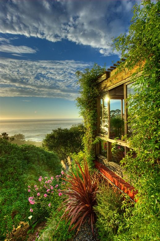 Tickle Pink Inn, a bed and breakfast in Carmel, California, is surrounded by greenery