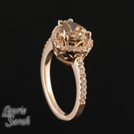 Horizontal Set Chocolate Colored Diamond Engagement Ring in 14kt Rose Gold - LS2906