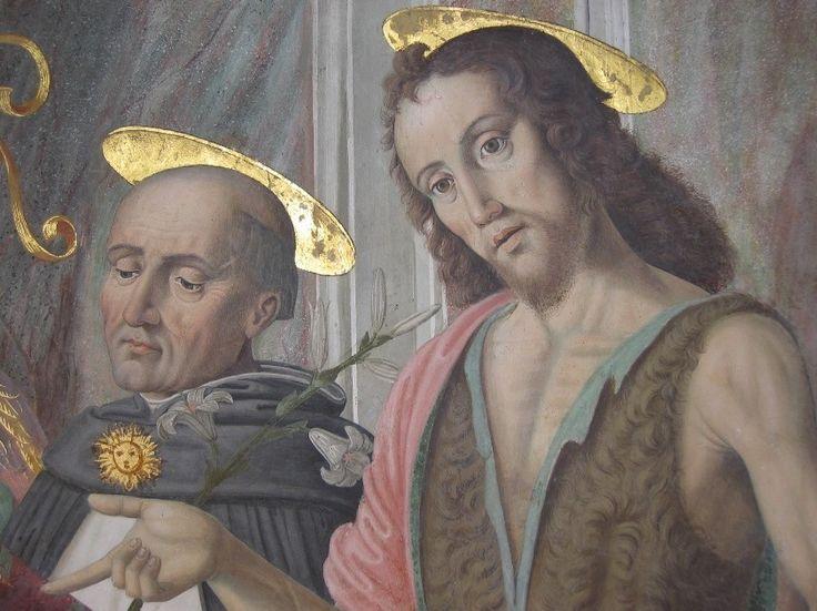 """Cagli_-_Cappella_Tiranni_-_San_Tommaso_d""""Aquino_e_San_Giovanni_Battista_-.jpg Фрески Капеллы тиранов в ц. Св. Доменика в Кальи (ок. 1490)."""