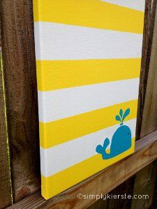 Cradle Cute Canvas Art | AllFreeHolidayCrafts.com *Really cute just change color to room theme and whale if its not nautical or ocean theme. I want to do this.