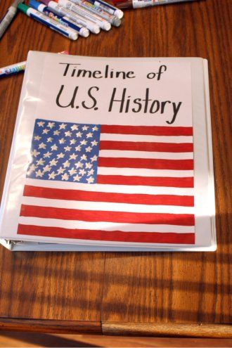 I like how she lays out the pages. This would be a good review of part 1 of American history before we jump into part 2 this year. #Homeschool timeline of US History from @Busy-at-Home