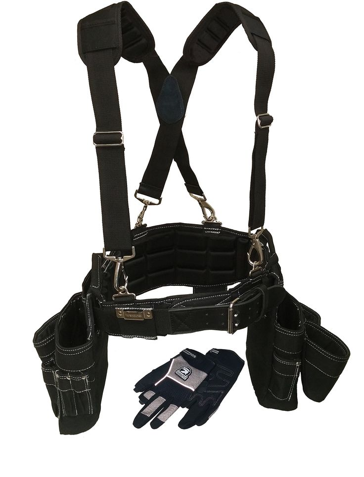 Contractor Pro Professional Carpenter's Tool Belt Combo Package (Tool Belt, Gloves, Suspenders). Pro Comfort Back Support Belt with Ventilated Padding. Heavy Duty Tool Apron with Carpenter Pouches, Hammer Holster and Tape Clip (Large)