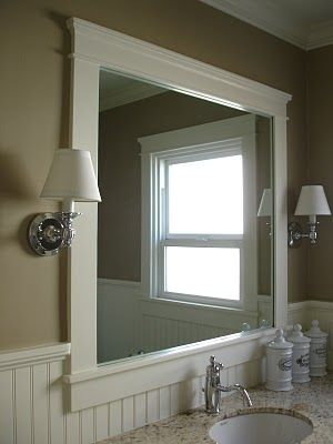 Framed Bathroom Mirrors, Wainscoting Bathroom, Downstairs Bathroom, Master  Bathroom, Frames Ideas, Mirror Ideas, Craftsman Style, Craftsman Trim, A  Tree