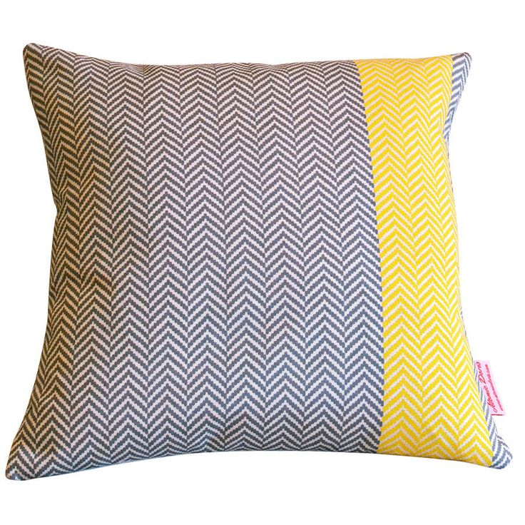 Herringbone Cushion with Sunny accent