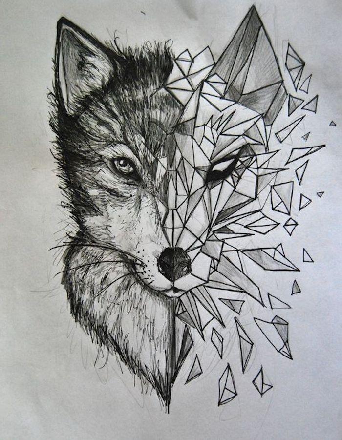 Dessin au crayon noir, loup, tatouage animal géométrique   – Tattoo Ideen