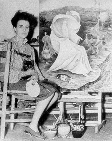 Leonora Carrington in her Mexico City studio.