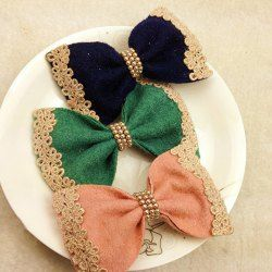 Sweet Lace Jacquard and Beads Embellished Woolen Bowknot Hair Clip For Women