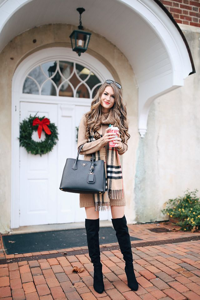 camel sweater dress  (I have it another color too!) // Burberry scarf  similar over-the-knee boots HERE  and HERE  (mine are f...