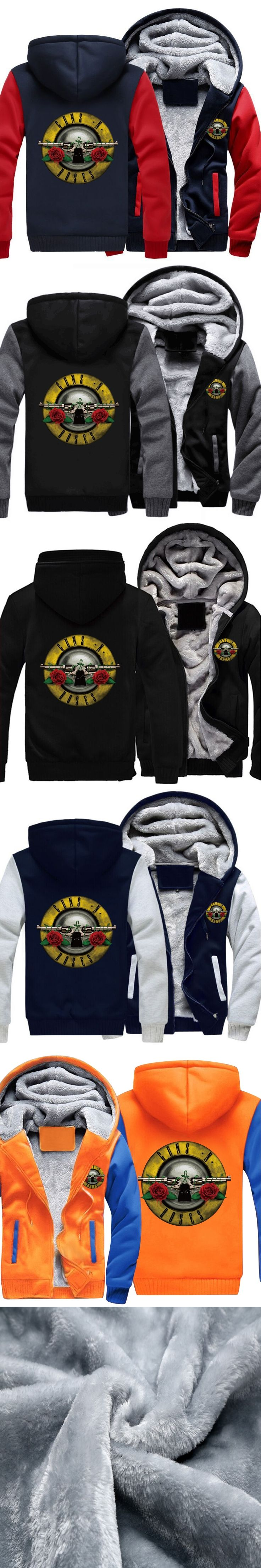 Winter Wool Liner Jacket Men's Cashmere  Guns N' Roses Thick Warm Coat Zipper Hoodie Hooded Cardigan Fleece Sweatshirts