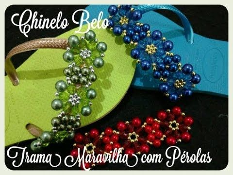 chinelo decorado com pérolas carreirinhas de flores by cida reis - YouTube