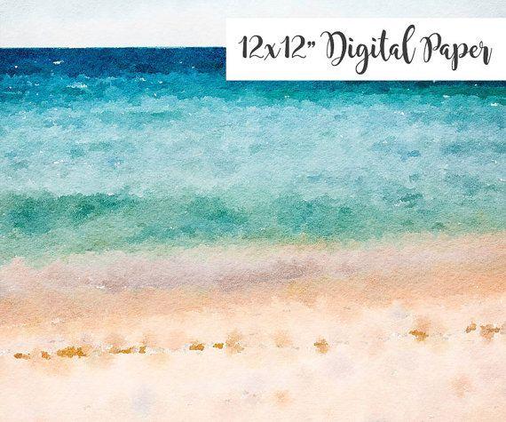 Digital Paper Watercolor Beach Sand Sky By LilWatercolorShop
