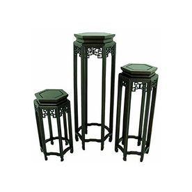 Oriental Furniture 3-Piece Dark Rosewood Accent Table Set St-Set3
