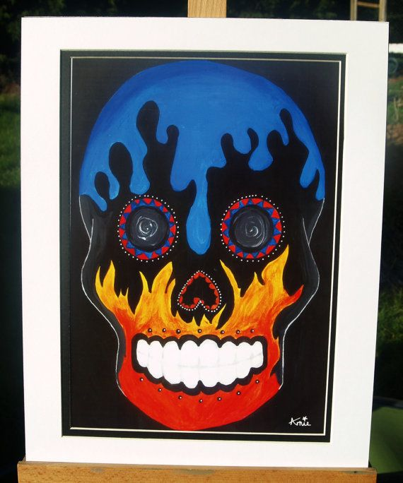 Sugar Skull, Original Acrylic Candy Skull Print - Elements Candy Skull- Day of The Dead-Día de Muertos
