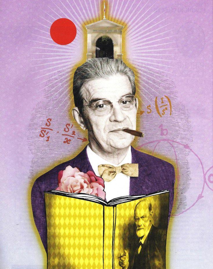 Jacques Lacan, avec Freud et mathemes et roses