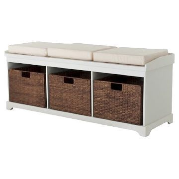Entryway Bench with 3 Baskets/Cushions
