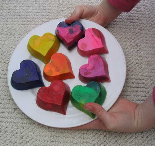 old crayons?  crafting a green world suggests a new idea.  chop crayons into small pieces, place in silicon baking molds and bake 15-20 minutes @ 150 degrees.  once cool, pop out of molds and color away!
