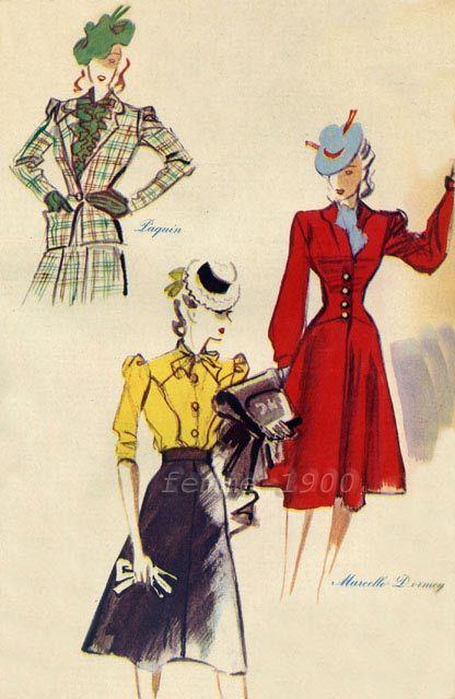 mars 1940 , dessin/esquisse/illustration de la mode des vêtements de plein air (=vestes , manteaux... )