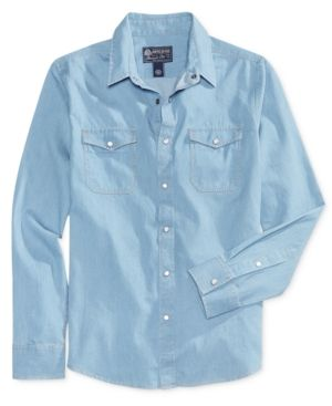 American Rag Men's Cotton Shirt, Only At Macy's  - Blue L