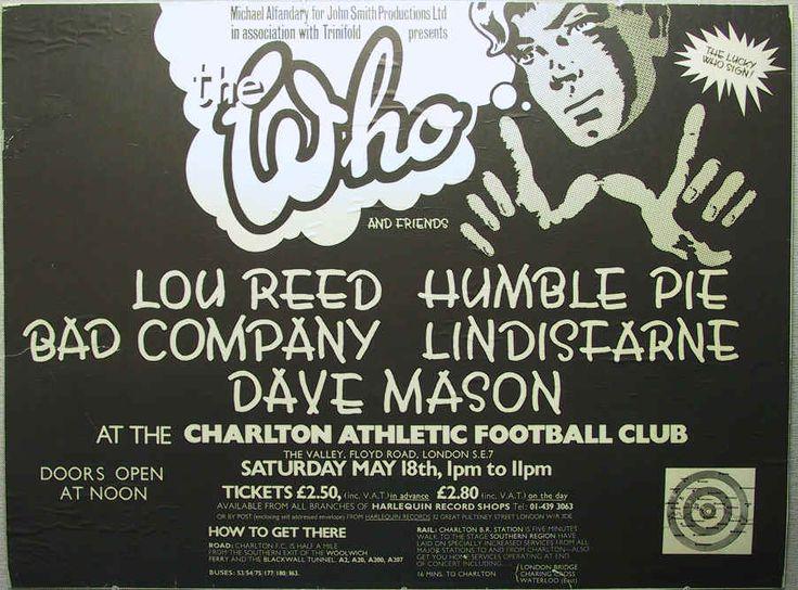 Who, Lou Reed, Humble Pie, Bad Company, Lindisfarne, Dave Mason at Charlton Athletic Football Club