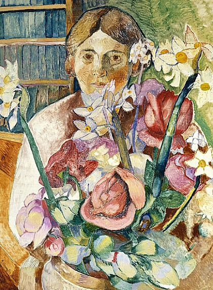 ⊰ Posing with Posies ⊱  paintings of women and flowers - Grace Cossington Smith  Figure Through Flowers  1935