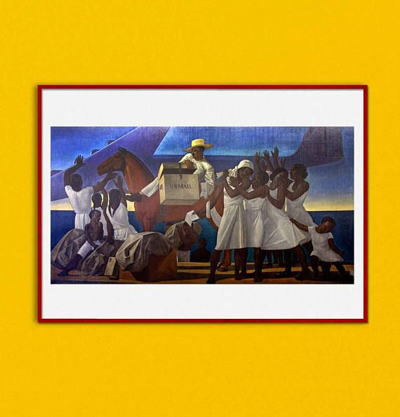 Mail Service in the Tropics Rockwell Kent Mural Painting