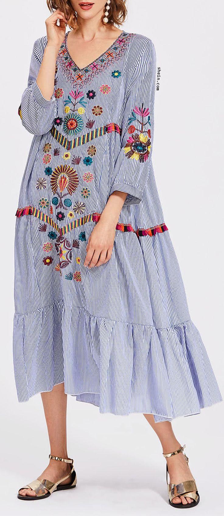 Vertical Striped Flower Embroidered Frill Hem Dress