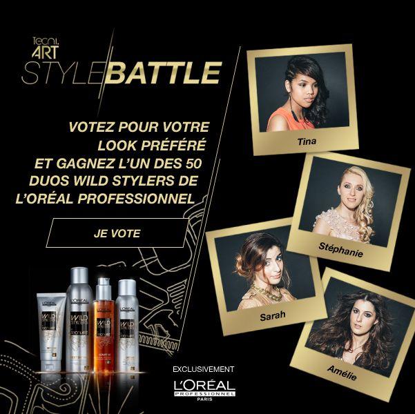 #StyleBattle : 4 bloggeuses expertes de la beauté et 8 jeunes coiffeurs de talent se sont rencontrés pour réinterpréter les coiffures les plus tendance du moment.  VOTEZ POUR VOTRE LOOK PRÉFÉRÉ sur http://lorealprofessionnel.fr/style-battle et tentez de gagner un Relooking Styling VIP ou l'un des 50 duos #WildStylers.