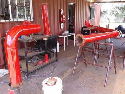 pintura de piezas prefabricadas para redes de incendio