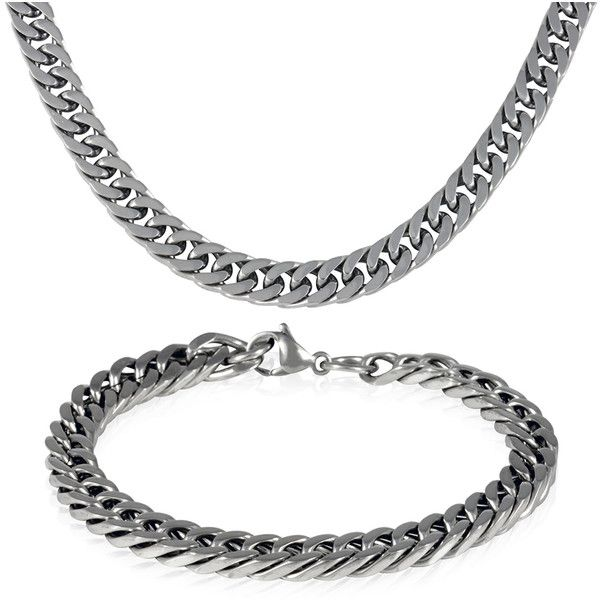 Men's 18K Gold Italian Design Cuban Chain Necklace and Bracelet Set ($13) ❤ liked on Polyvore featuring men's fashion, men's jewelry, men's necklaces, jewelry & watches, white, mens white gold necklace, mens yellow gold cross necklace, mens gold necklace, mens chains and mens chain necklace