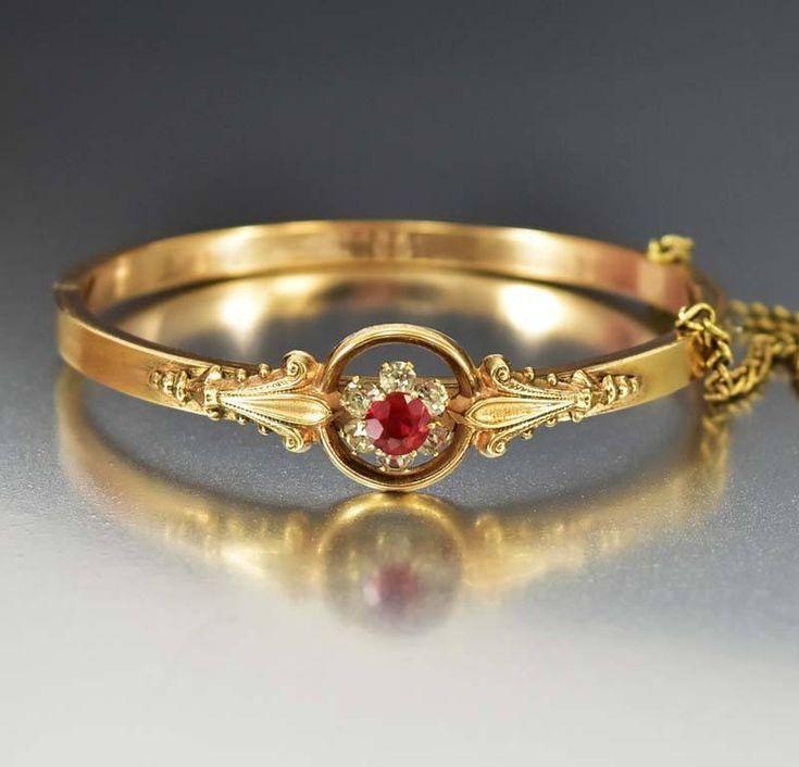 Gold Filled Diamond & Ruby Paste Bangle Bracelet C.1910