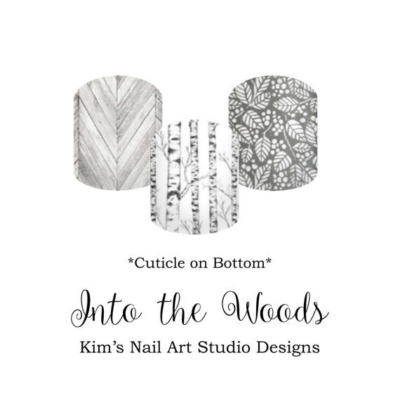"""Into the Woods: If you want to get these beauties of your fingers and toes, head on over to my Jamberry Nail Art Studio Marketplace! Simply click on the image above and it will direct you right to the listing! To see more of my designs and some special sales, join my Facebook group """"Kim's Nail Art Studio Designs"""" at www.facebook.com/groups/925106354278688 Thanks for the interest in my designs!"""