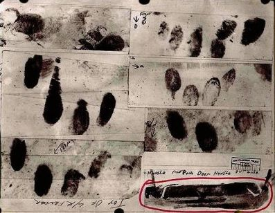 Bloody fingerprints possibly belonging to the Zodiac Killer, discovered on the vehicles of his victims.