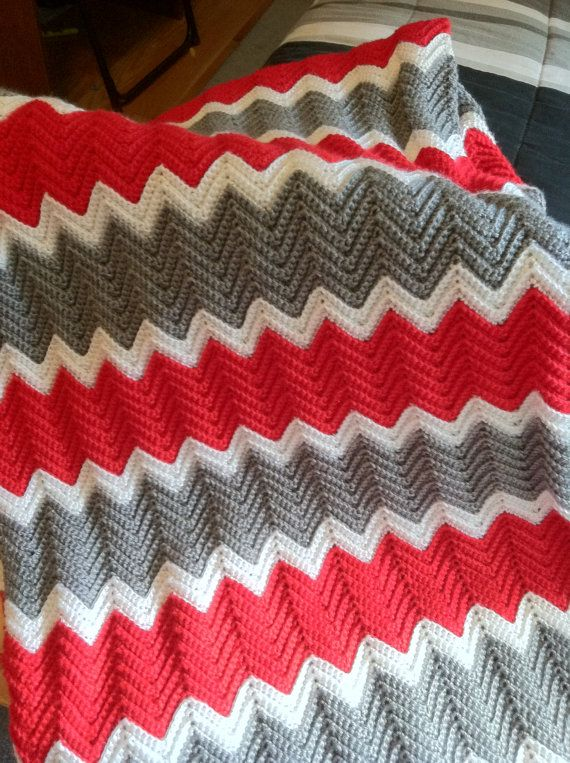 Ripple Crochet Red Grey and White XL by KozyAfghansbyPhyllis, $100.00