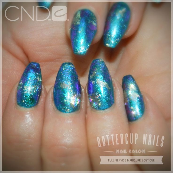CND Shellac in new colour Viridian Veil with foiling, over Retention+ acrylic sculpted nails.    #CND #CNDWorld #CNDShellac #CNDNightspell #Shellac #nails #nail #nailstagram #naildesign #naildesigns #nailaddict #nailpro  #nailart #nailartist #nailartdesign #nailartofinstagram #nailartdesigns