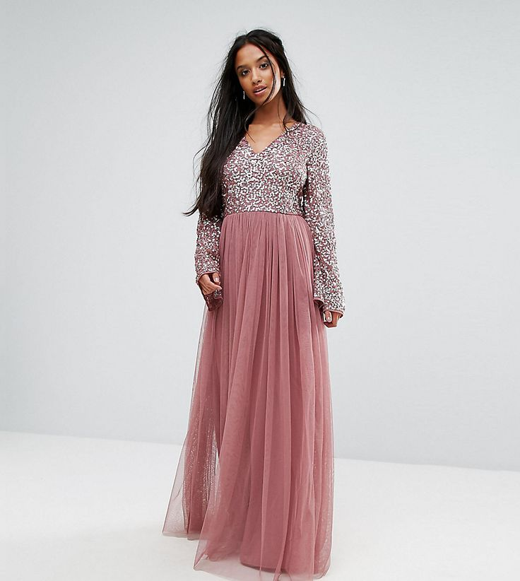 Maya Petite Sequin Top Tulle Maxi Dress With Fluted Sleeve Detail - Pu