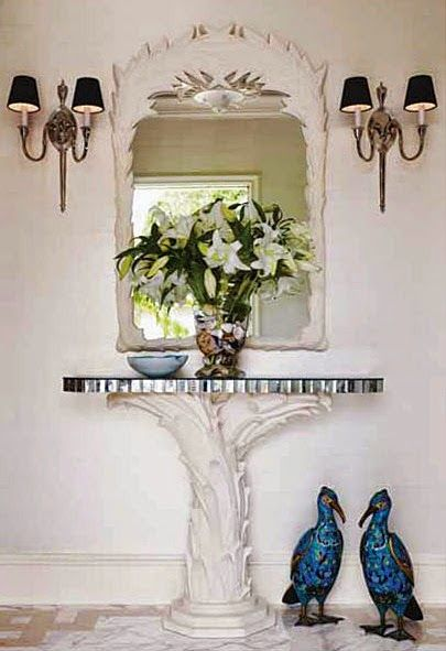 Foyer Table Vignettes : Entryway vignette with white walls and blue accents