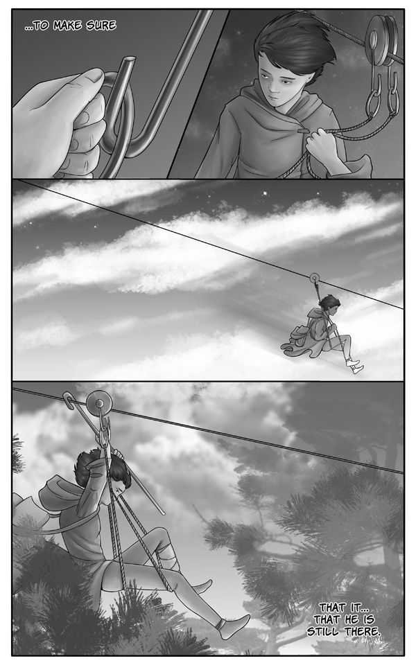 Gifts of wandering ice - Page 272 - Cable way and pine trees - comic, webcomic, indie, web, online, graphic novel, free, scifi, sf, sci-fi, science fiction, story, postapocalyptic, ice age, cavemen, cableway, cable way, pine tree, clouds, stars, starry, morning, night, dawn, sky, fly, flying, boy, kid, child, tribal, rising sun, sunrise